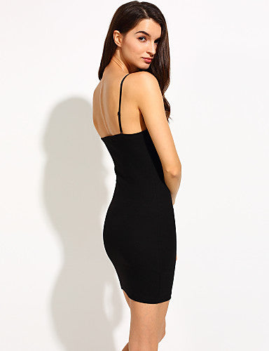 Women's Cotton Bodycon Dress - Solid Colored Black Mini Deep U