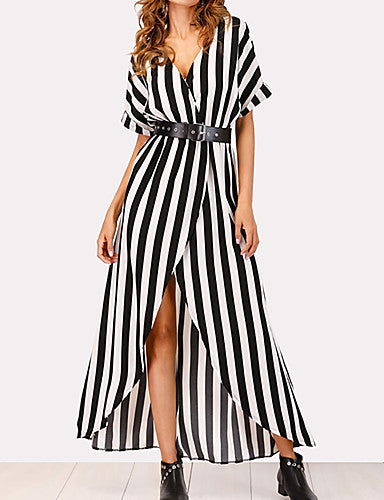 Women's Street chic / Sophisticated Sheath / Shirt Dress - Striped Split