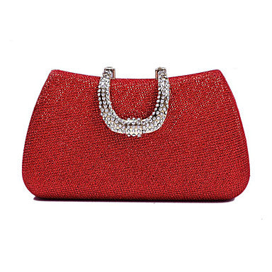 Women's Bags Polyester Evening Bag Crystals Black / Red / Silver