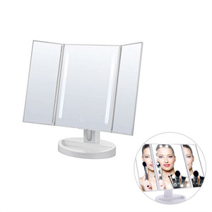 Vanity Makeup Mirror Trifold 21 LED Lighted with Touch Screen