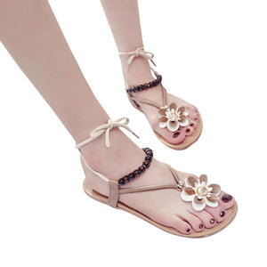 Women Fashion Summer Flower Round Toe Flat Heel Sandals Slipper Flip Flops