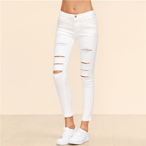 Sheinside Destroyed Ankle Jeans 2018 Summer Button Zipper Fly Crop Pants Women White Suede Mid Waist Ripped Skinny Pants