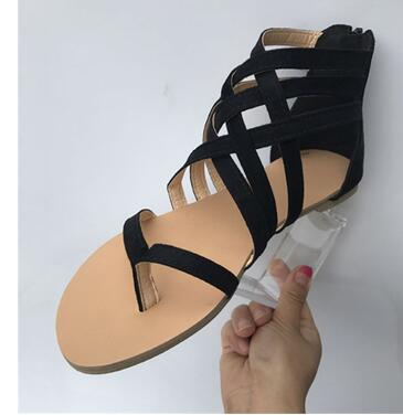 2018 Woman Sandals Gray Suede Leather Summer Open Toe Flat Shoes