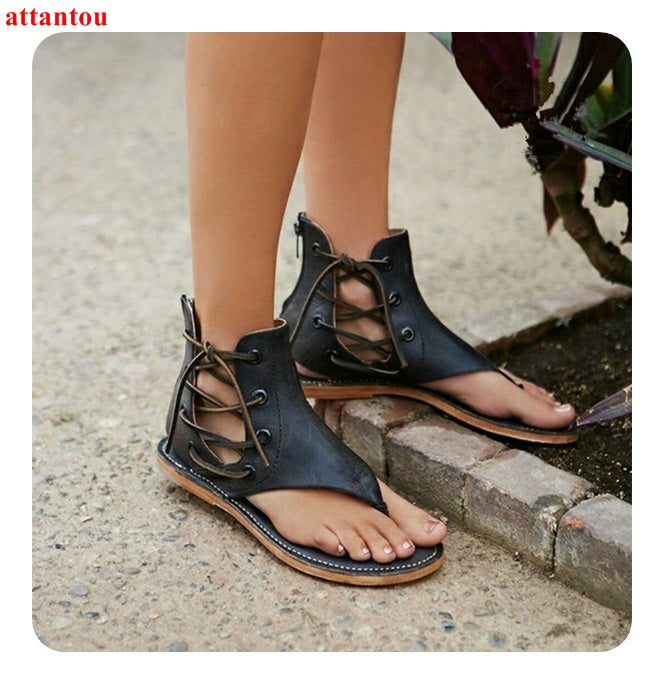 2018 Sandals Black Leather Summer Fashion open toe Flat Shoes