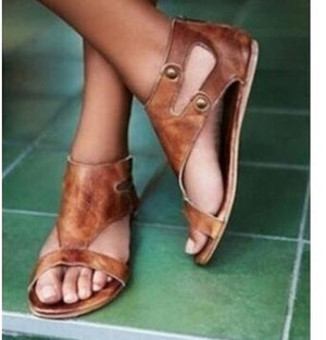 Woman Sandals Brown Leather Summer Fashion Open Toe Flat Shoes