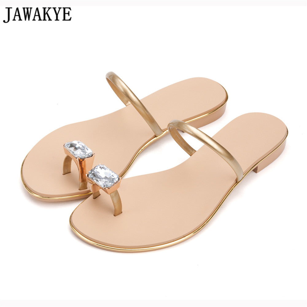 Summer Slippers Crystal Decor Flat Heels Concise