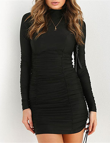 Women's Basic / Street chic Little Black Dress - Solid Colored Ruched