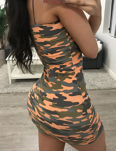 Women's Going out / Club Basic Skinny Bodycon / Sheath Dress - Camouflage Print Mini Strap / Summer