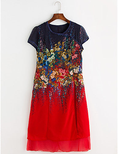 Women's Plus Size Going out Chiffon Dress - Floral Layered / Print / Summer