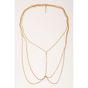 Tassel / Crossover Belly Chain / Body Chain / Harness Necklace - Gold Plated Tassel, European