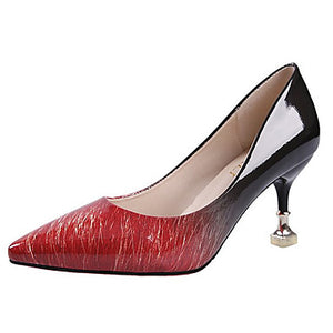 Women's Shoes Spring / Fall Comfort Heels Stiletto Heel Gray / Brown / Red
