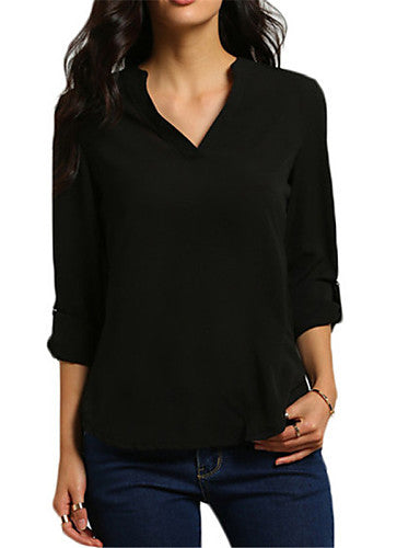 Women's Work Plus Size T-shirt - Solid Colored, Cut Out V Neck