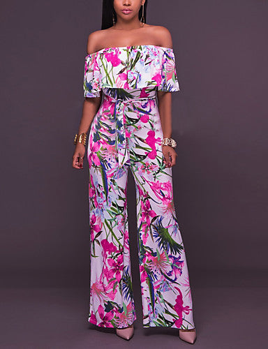 Women's Work Going out Cotton Jumpsuit - Flower, Ruffle Floral Print High Rise Wide Leg Boat Neck