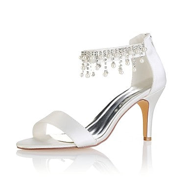 Women's Shoes Stretch Satin Summer Basic Pump Wedding Shoes Stiletto Heel Open Toe Crystal / Pearl Ivory / Party & Evening