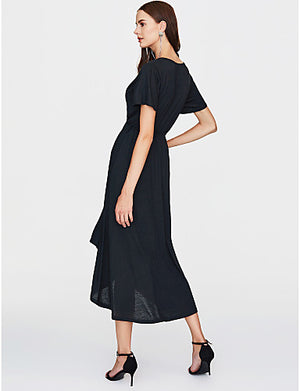 Women's Holiday / Going out Sophisticated Swing Dress - Solid Colored Black Maxi Deep V / Summer