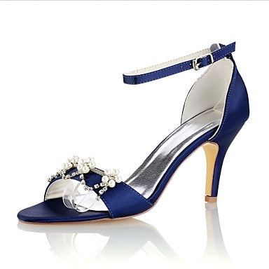 Women's Shoes Stretch Satin Summer Basic Pump Wedding Shoes Stiletto Heel Open Toe Crystal / Pearl Dark Purple / Royal Blue / Burgundy