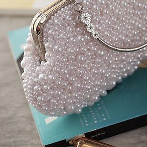 Women's Bags Polyester Evening Bag Crystals / Pearls White / Beige