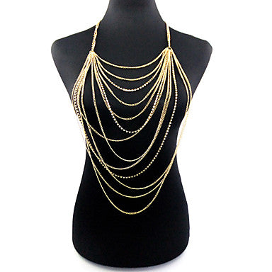 Body Chain Bohemian, Fashion Women's Gold Body Jewelry