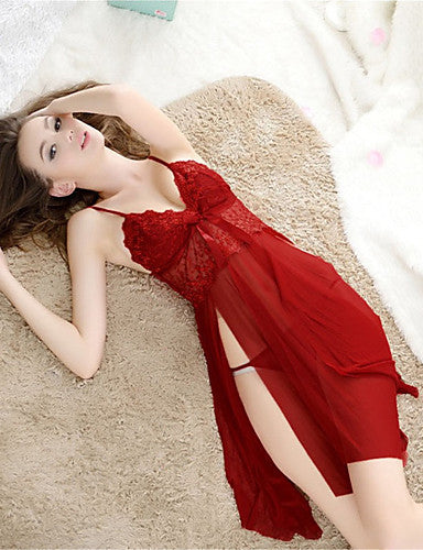 Women's Super Sexy Lace Lingerie / Suits Nightwear Solid Colored / V Neck