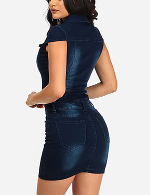 Women's Street chic Denim Bodycon / Denim Dress - Solid Colored Mini Shirt Collar / Spring / Summer / Slim