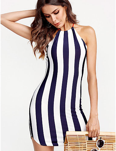 Women's Skinny Bodycon Dress - Striped Crew Neck / Summer / Backless