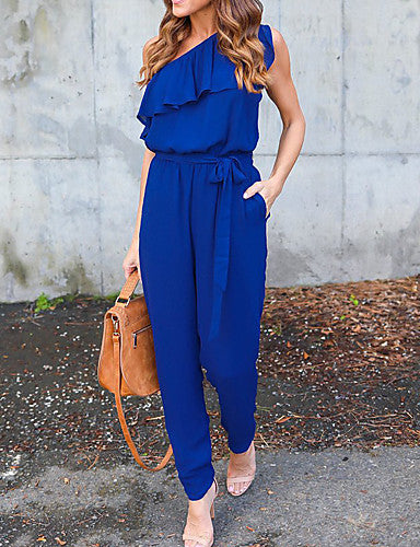 Women's Going out Jumpsuit - Solid Colored, Ruffle One Shoulder