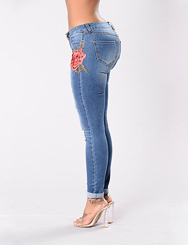 Women's Skinny Skinny Jeans Pants - Embroidered Floral