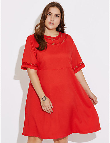 Women's Plus Size Going out Shift Dress - Solid Colored Red / Spring / Fall