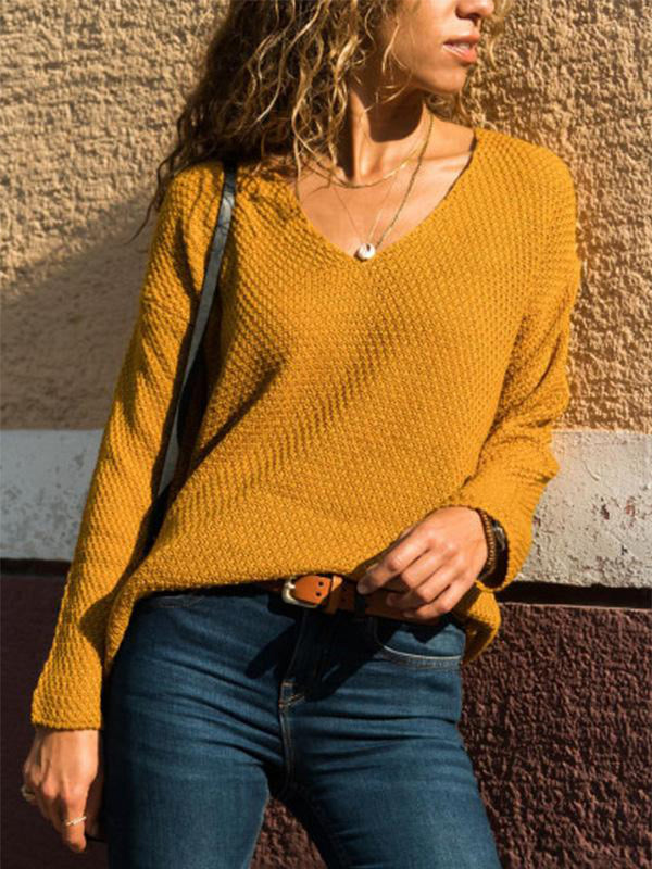 Outdoor Long Sleeve V Neck Knitted Sweaters