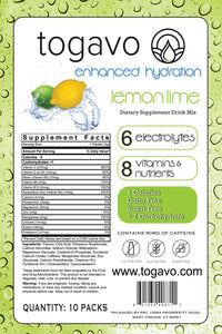Togavo Lemon Lime (10 Pack) + Free 3 Day Shipping!