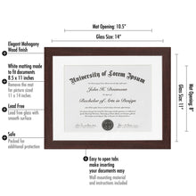Load image into Gallery viewer, Mahogany Document Frame - Made to Display Documents sized 8.5x11 Inches with Mat and 11x14 without Mat - Document Frame, Certificate Frame, High School Diploma Frame