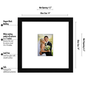 10 Pack - 14x14 Wedding Signature Picture Frames - Display Pictures 5x7 with Mats - Display Pictures 14x14 Without Mats - Made with Glass