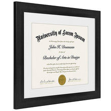 Load image into Gallery viewer, 2 Pack - 11x14 Black Document Frames - Display Documents 8.5x11 with Mats - Display Documents 11x14 without Mats