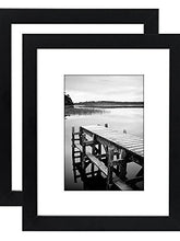 Load image into Gallery viewer, 2 Pack - 8x10 Black Picture Frames - Display Pictures 5x7 with Mats - Display Pictures 8x10 without Mats