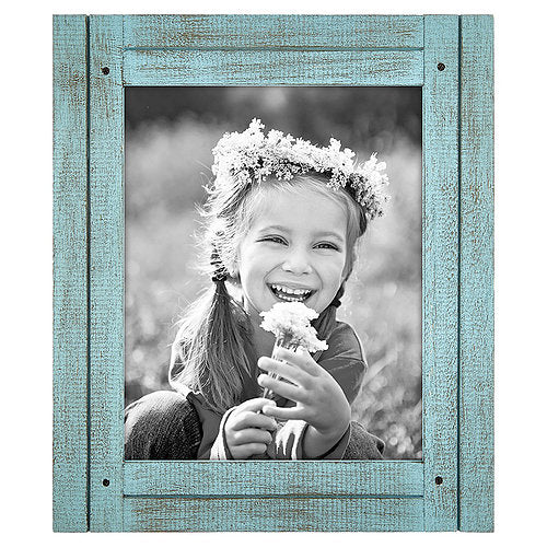 8x10 Turquoise Blue Distressed Wood Frame - Made to Display 8x10 Photos - Ready To Hang - Ready To Stand - Built-In Easel