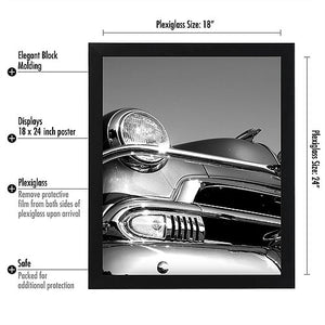 "6 Pack - 18x24 Black Poster Frames - 1.5"" Wide - Smooth Black Finish - Vertical Hanging Hardware Included - Horizontal Hanging Hardware Included"