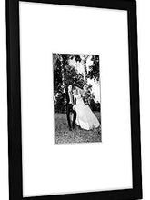 Load image into Gallery viewer, 11x14 Black Wall Picture Frame - Display Pictures 5x7 with Mat