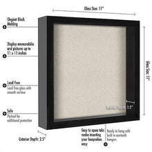 Load image into Gallery viewer, 11x11 Shadow Box Frame - Soft Linen Back - Perfect to Display Memorabilia, Pins, Awards, Medals, Tickets, Photos
