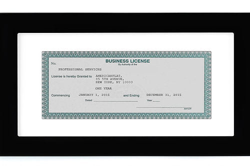 Business License Frame - Made for Business Licenses Sized 3.5x8 Inches with Mat