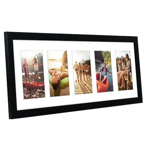 Black Collage Picture Frame with 5 Openings; Made for 4x6 Inch Photos