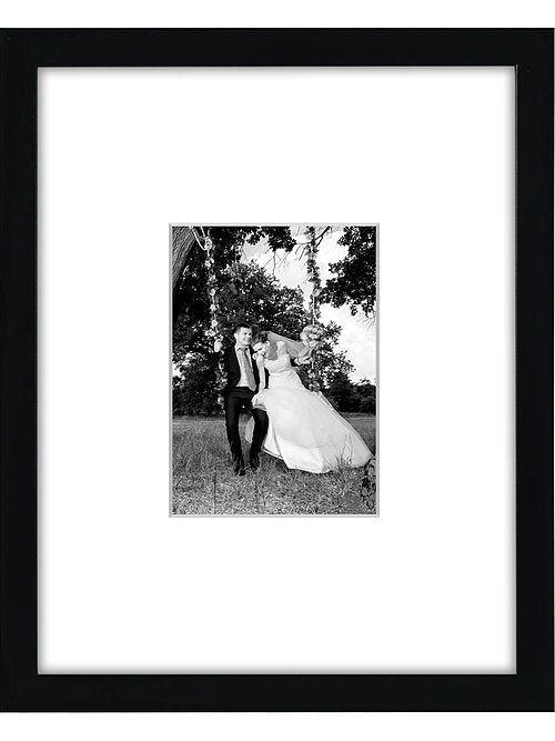 11x14 Black Wall Picture Frame - Display Pictures 5x7 with Mat