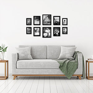 10-Piece Multi Pack Black Frames; Two 8x10 Frames, Four 5x7 Frames, Four 4x6