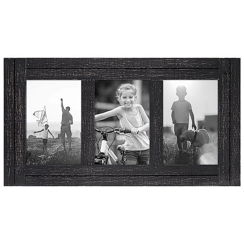 4x6 Charcoal Black Collage Distressed Wood Frame - Made to Display Three 4x6 Photos - Ready To Hang - Ready to Stand on Tabletop