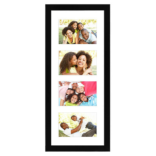 Black Collage Picture Frame with 4 Openings - Made for 4x6-inch Photos