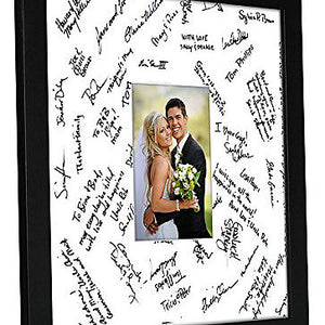 14x14 Wedding Signature Picture Frame - Display Pictures 5x7 or 14x14 without Mat - Made with Glass