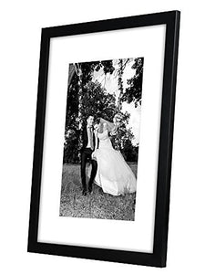 12x16 Black Picture Frame - Display Pictures 8x12 with Mat - Display Pictures 12x16 without Mat - Glass Front - Hanging Hardware Included