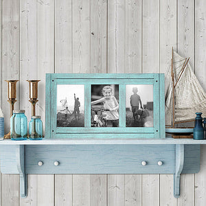 4x6 Turquoise Blue Collage Distressed Wood Frame - Made to Display Three 4x6 Photos - Ready To Hang - Ready To Stand - Built-In Easel