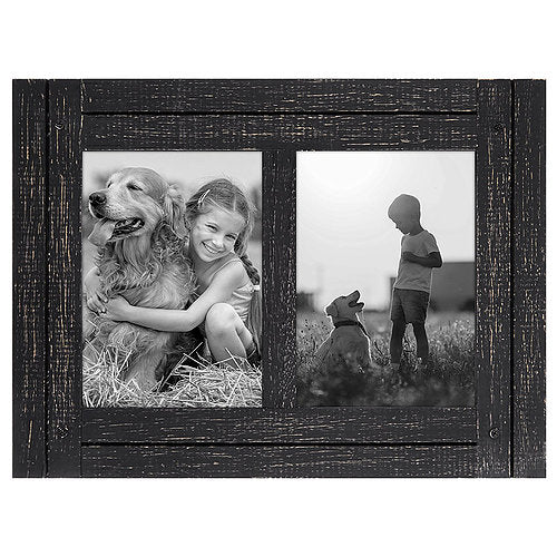 5x7 Charcoal Black Collage Distressed Wood Frame - Display Two 5x7 Photos