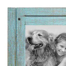 Load image into Gallery viewer, 5x7 Turquoise Blue Collage Distressed Wood Frame - Made to Display Two 5x7 Photos - Ready To Hang - Ready To Stand - Built-In Easel