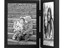 Load image into Gallery viewer, 5x7 Hinged Picture Frame with Glass Front - Display Two 5x7 Pictures - Stand Vertically on Desktop or Tabletop